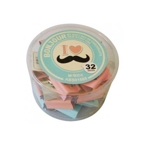 """Зажим для бумаги """"Mustache"""", 3,2 см, 24 шт."""
