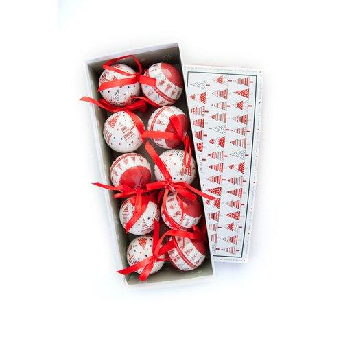"""Новогодние шары """"Красно-белые"""""""