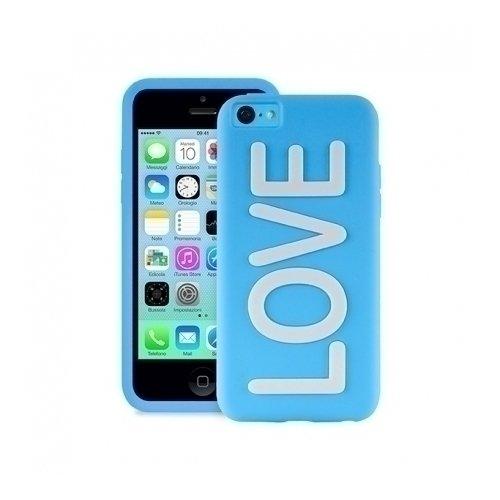 """Чехол для iPhone 5С """"Love"""" голубой цена 2017"""