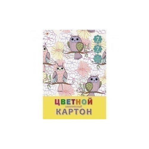 Цветной мелованный картон Орнамент. Совы А4 палаццо картон цветной 50 листов цвет розовый красный
