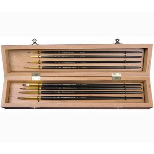 Набор кистей № 11, в буковой шкатулке набор для творчества мини корзинка плетёная овальная 7 5 6 9см