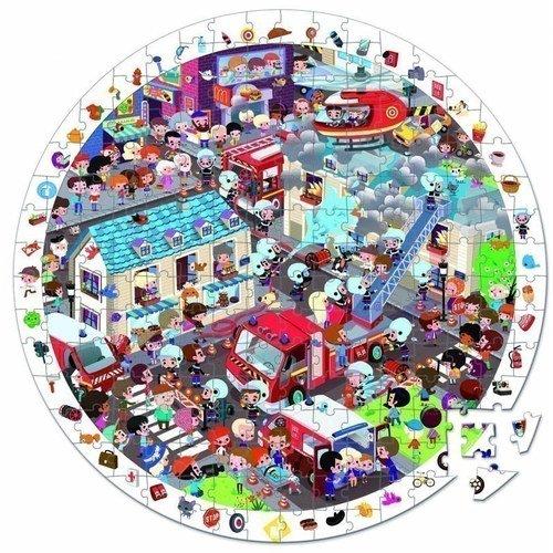 Большой пазл в круглом чемоданчике Пожарные 208 коврик пазл феникс большой город 15 элементов