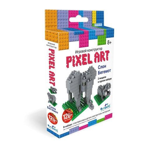 Конструктор 3D Слон / Бегемот конструктор оригами к pixelart™ 3d пиксели 2в1 слон бегемот 02301