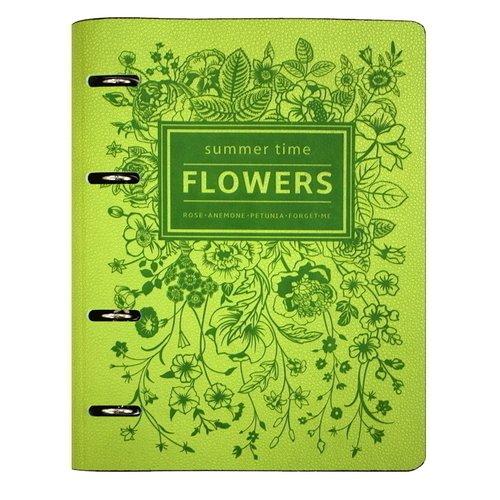 """Папка для сменного блока с кольцевым механизмом """"Flowers"""" А5, 15 х 21 см"""