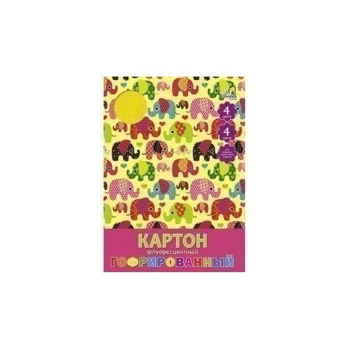 """Гофрированный флуоресцентный картон """"Орнамент. Слоники"""" А4 цена"""