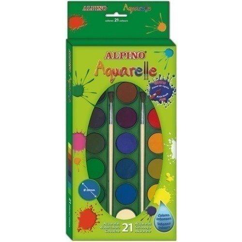 цена на Акварельные краски, 21 цвет + 2 кисточки