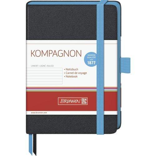 Блокнот Компаньон Тренд, в линейку, черный/голубой блокнот joy book а5 96 листов в линейку голубой