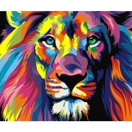 Раскраска по номерам Радужный лев, 13 х 16,5 см