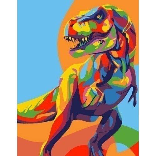 Раскраска по номерам Радужный динозавр, 13 х 16,5 см