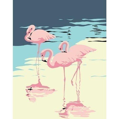 Раскраска по номерам Фламинго, 13 х 16,5 см