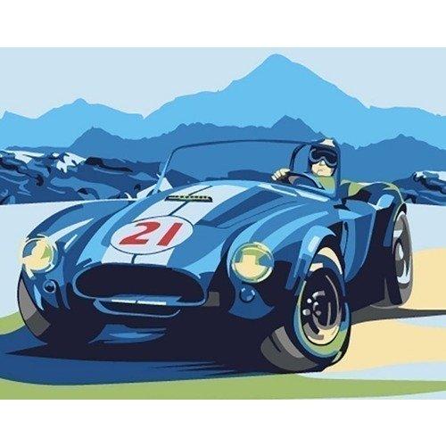 Раскраска по номерам Ретро-автомобиль, 13 х 16 см