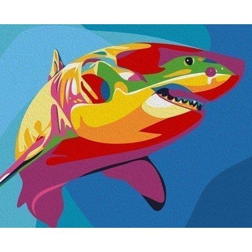 цена на Раскраска по номерам Радужная акула, 40 х 50 см