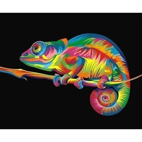 Раскраска по номерам Радужный хамелеон, 40 х 50 см
