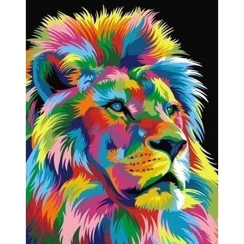 цена на Раскраска по номерам Королевский радужный лев, 40 х 50 см