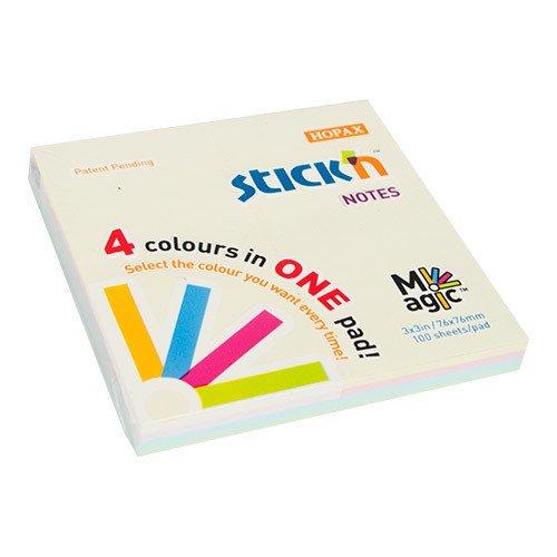 Блок самоклеящийся бумажный Magic пастель 4 цвета блок самоклеящийся 51х51 мм 400 листов 4 цвета 122858