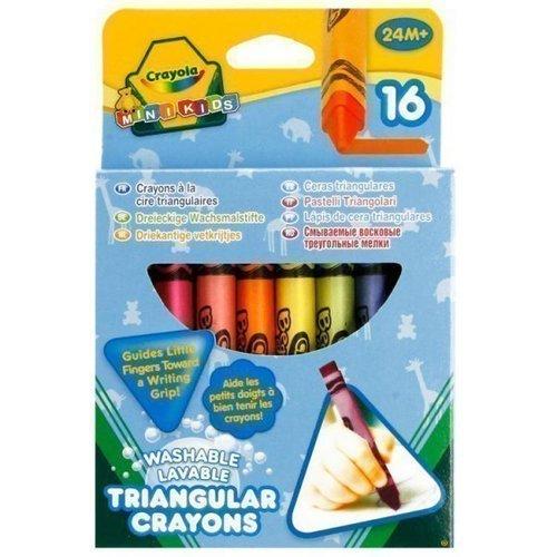 Мелки восковые смываемые, 16 шт. crayola 16 смываемых треугольных восковых мелков crayola