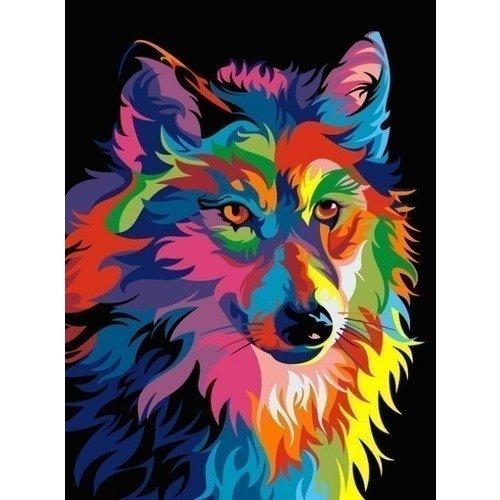Раскраска по номерам Радужный волк, 40 х 50 см