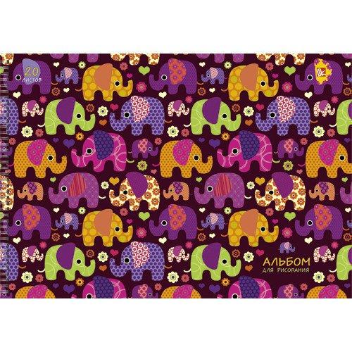 Альбом для рисования Яркие слоники А4 альбом для рисования 20 листов пи джей маски
