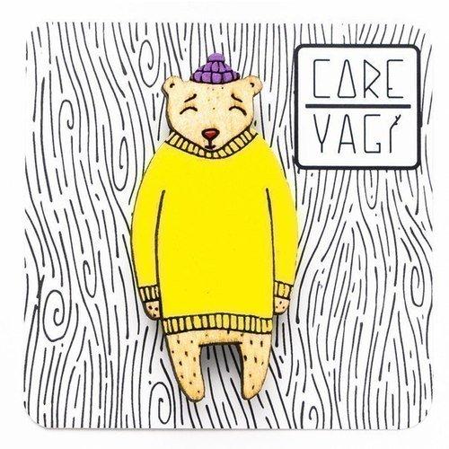 """Значок деревянный """"Медведь в свитере"""", в ассортименте"""