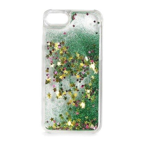"""Крышка задняя для iPhone 7 """"Блестки с жидкостью"""", зеленая"""