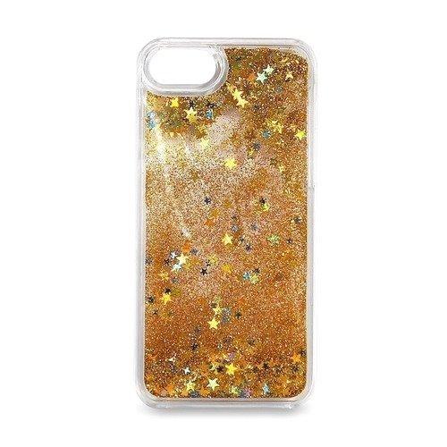 """Крышка задняя для iPhone 7 """"Блестки с жидкостью"""", желтая"""