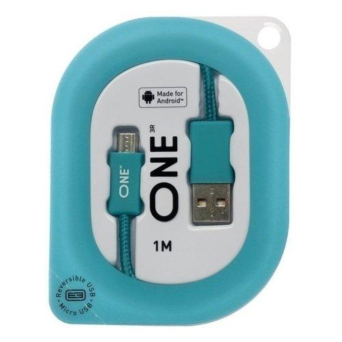 Кабель для Android реверсивный USB / Micro-USB, 1 м, бирюзовый