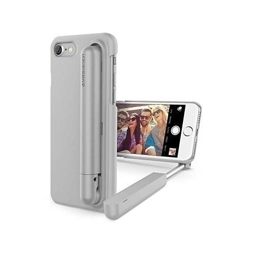Чехол для iPhone 7, со встроенной селфи-палкой, серый