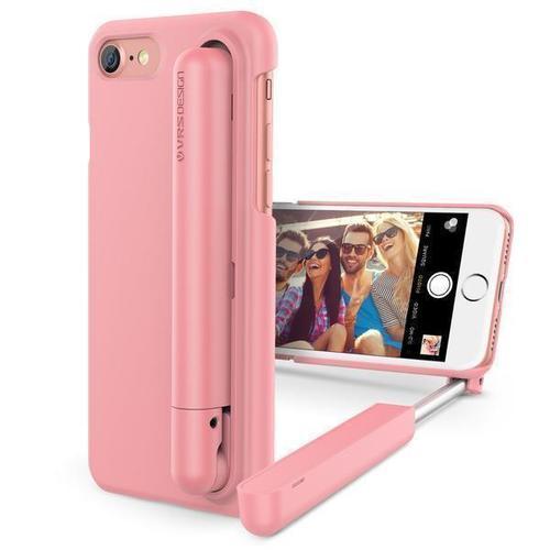Чехол для iPhone 7, со встроенной селфи-палкой, розовый
