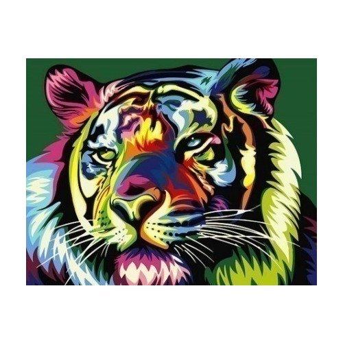 цена на Раскраска по номерам Королевский радужный тигр, 40 х 50 см