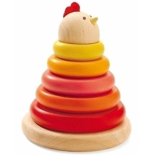 Купить Пирамидка Курочка , Djeco, Игрушки для малышей