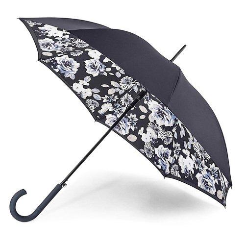 Зонт-трость женский Mono Floral, автомат тарелки с большим куполом 31cm