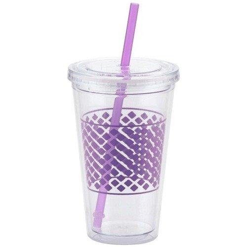 Стакан с трубочкой фиолетовый AC1-01
