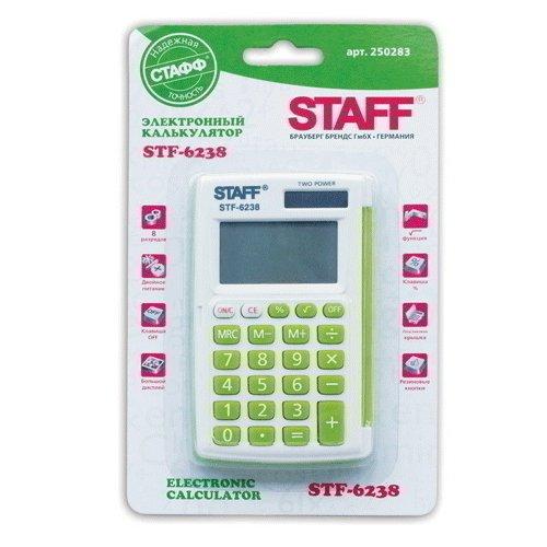 Калькулятор карманный STF-6238 зеленый калькулятор карманный staff stf 6238 цвет белый зеленый