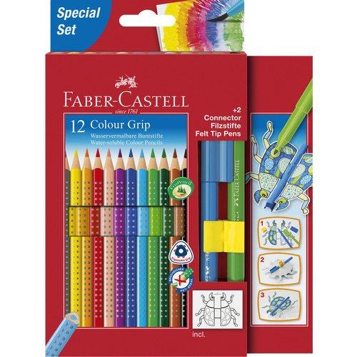 Карандаши цветные Grip 2001, 12 цветов + 2 фломастера Connector + 1 карточка для раскрашивания Жук цветные карандаши grip 2001 набор цветов в студийной кожзам коробке 36 шт