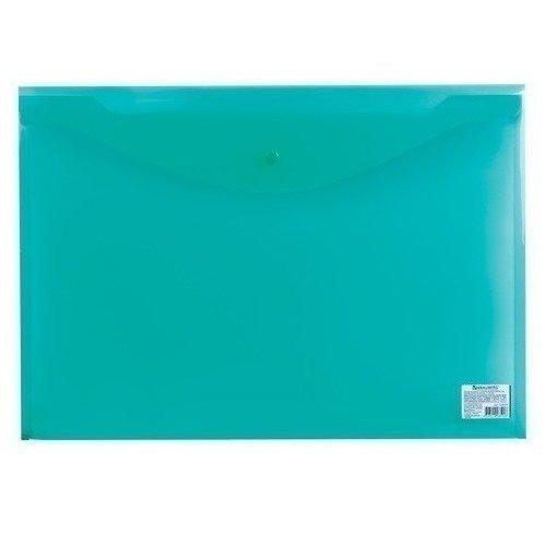 лучшая цена Папка-конверт с кнопкой А3, прозрачная, зеленая