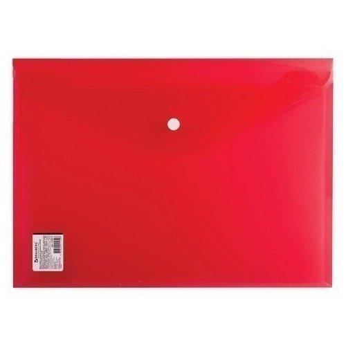 Папка-конверт с кнопкой А4, прозрачная, плотная, красная папка конверт с кнопкой а4 прозрачная плотная синяя
