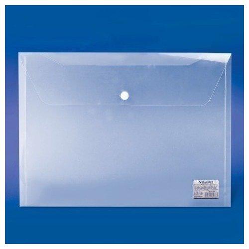 Папка-конверт с кнопкой А4, прозрачная