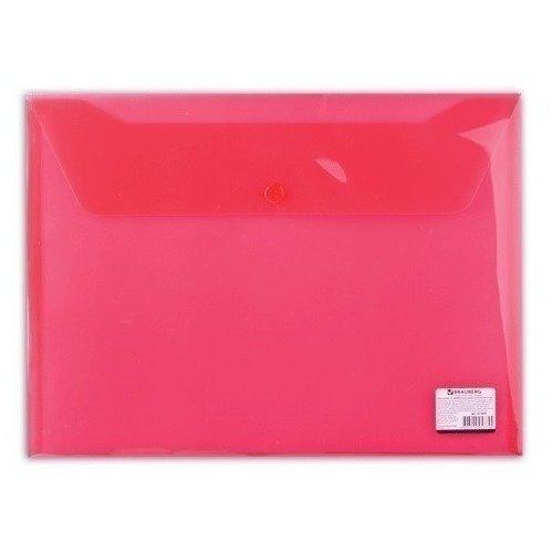 Фото Папка-конверт с кнопкой А4, прозрачная, красная