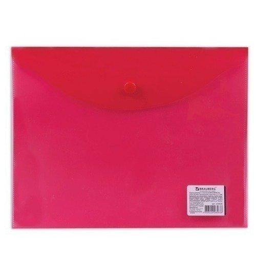 Папка-конверт с кнопкой А5, прозрачная, красная