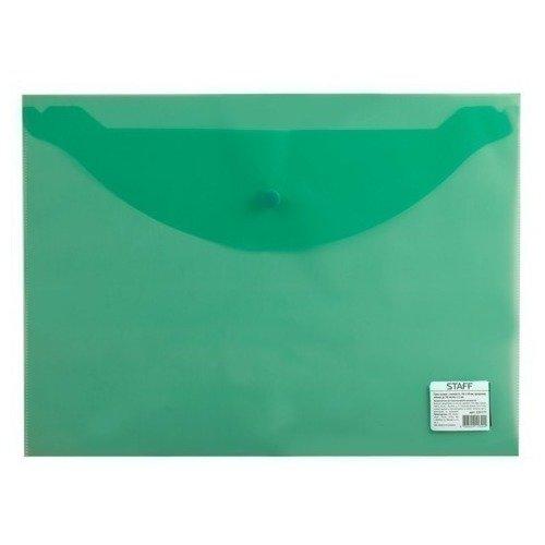 Папка-конверт с кнопкой эконом, А4, прозрачная, зеленая эффективное дели 3423 5 крафт конверт почтовое отделение стандартный конверт 220 110мм 20 листов одного пакета