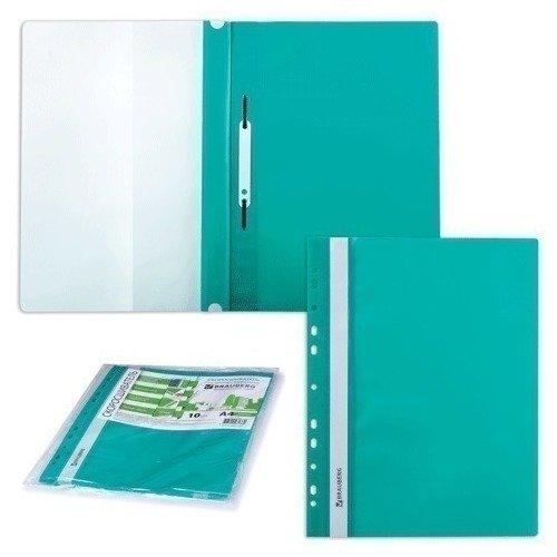 Скоросшиватели пластиковые с перфорацией, 10 шт., зеленые