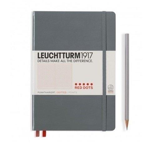 """Блокнот """"Красные точки"""" Leuchtturm 1917 А5 в точку серый"""