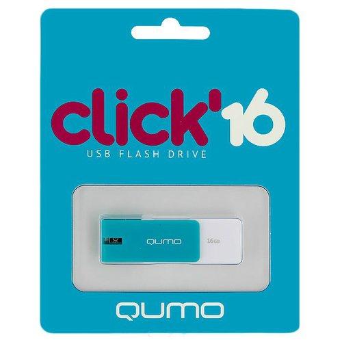 Накопитель 16GB USB 2 Click Azure, цвет лазурь qumo click 4gb amber