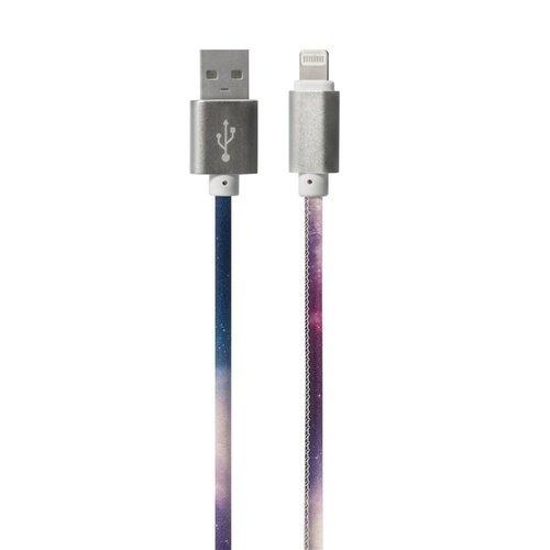 Дата-кабель Lightning/USB Космос, кожзам кабель 2 в 1 lightning и micro usb для зарядки и передачи данных i mu
