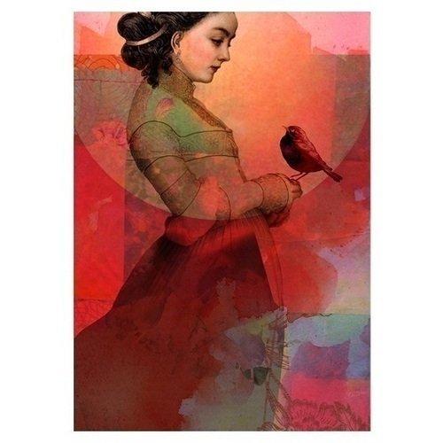 "Принт ""Lady in red"" А3"