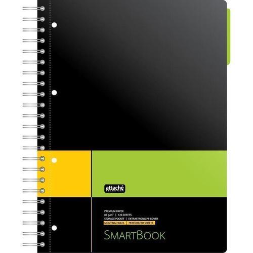 Бизнес-тетрадь Smartbook А4, 120 листов, в клетку, желто-зеленая цена