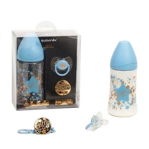 Набор Haute Couture: бутылочка 270 мл, соска 0-4 мес и держатель, голубой цена