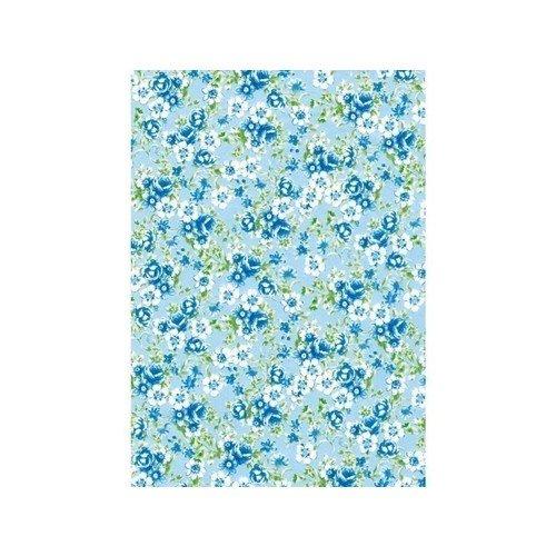 Бумага для декопатча Цветочки на голубом черная речка бумага для техники decopatch 30 40 горошек клетка коричн