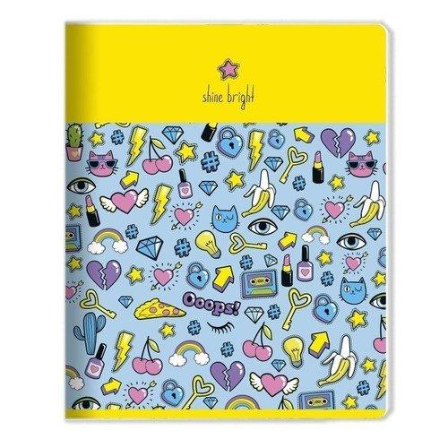Фото - Тетрадь Stickers, 48 листов, в клетку, 16,5 х 20,3 см, желтая тетрадь magic lines пантон 80 листов в клетку