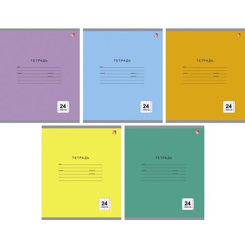 Тетрадь Однотонная серия (клетка) А5, 24 листа в клетку, в ассортименте тетрадь фрукты и ягоды графика а5 24 листа в линейку в ассортименте